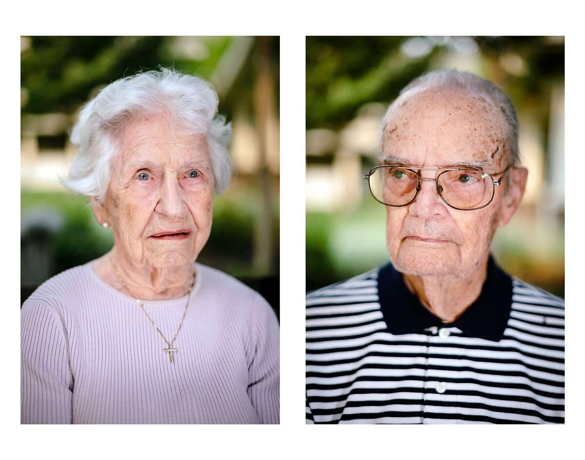 """Joan Andrews, 99, and her husband, Nelson """"Andy"""" Andrews, 98, were evacuated from the Oakmont Gardens retirement community in Santa Rosa. They spent four hours on a bus, which brought them to a sister facility in Manteca."""