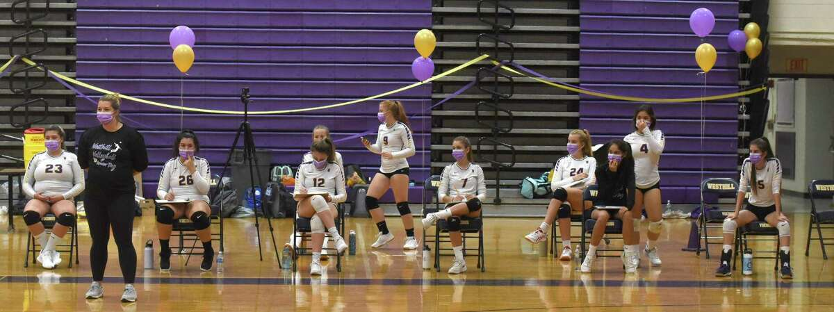 The socially-distanced Westhill bench during the Vikings' season-opening volleyball match against Stamford at Westhill High School on Thursday.