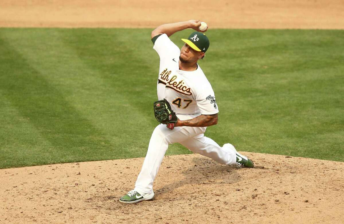 OAKLAND, CALIFORNIA - OCTOBER 01: Frankie Montas #47 of the Oakland Athletics pitches against the Chicago White Sox in the fifth inning of Game Three of the American League wild card series at RingCentral Coliseum on October 01, 2020 in Oakland, California. (Photo by Ezra Shaw/Getty Images)