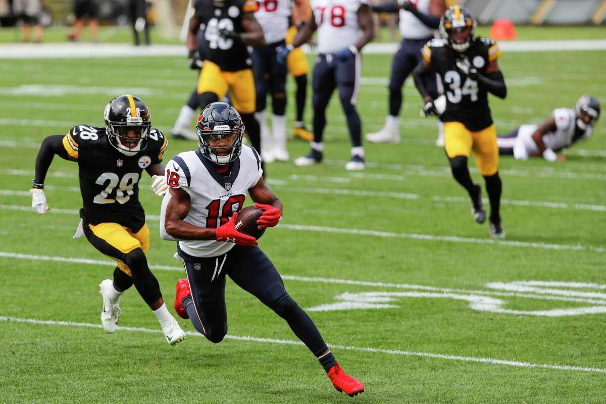 New Texans receiver Randall Cobb clicked in the first half against Pittsburgh with Deshaun Watson for a 28-yard touchdown.