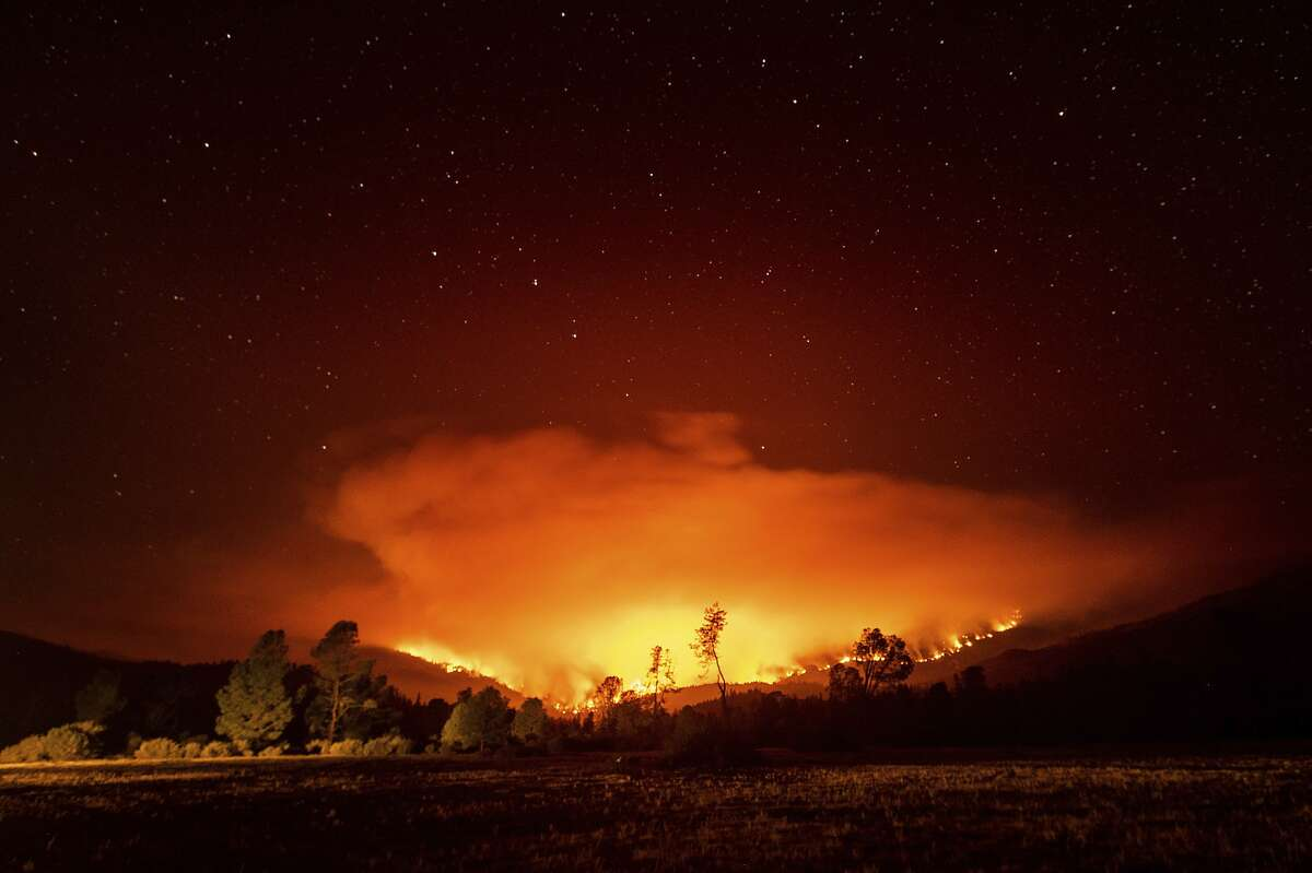 The August Complex fire burns Sept. 16 in Glenn County near Lake Pillsbury in the Mendocino National Forest
