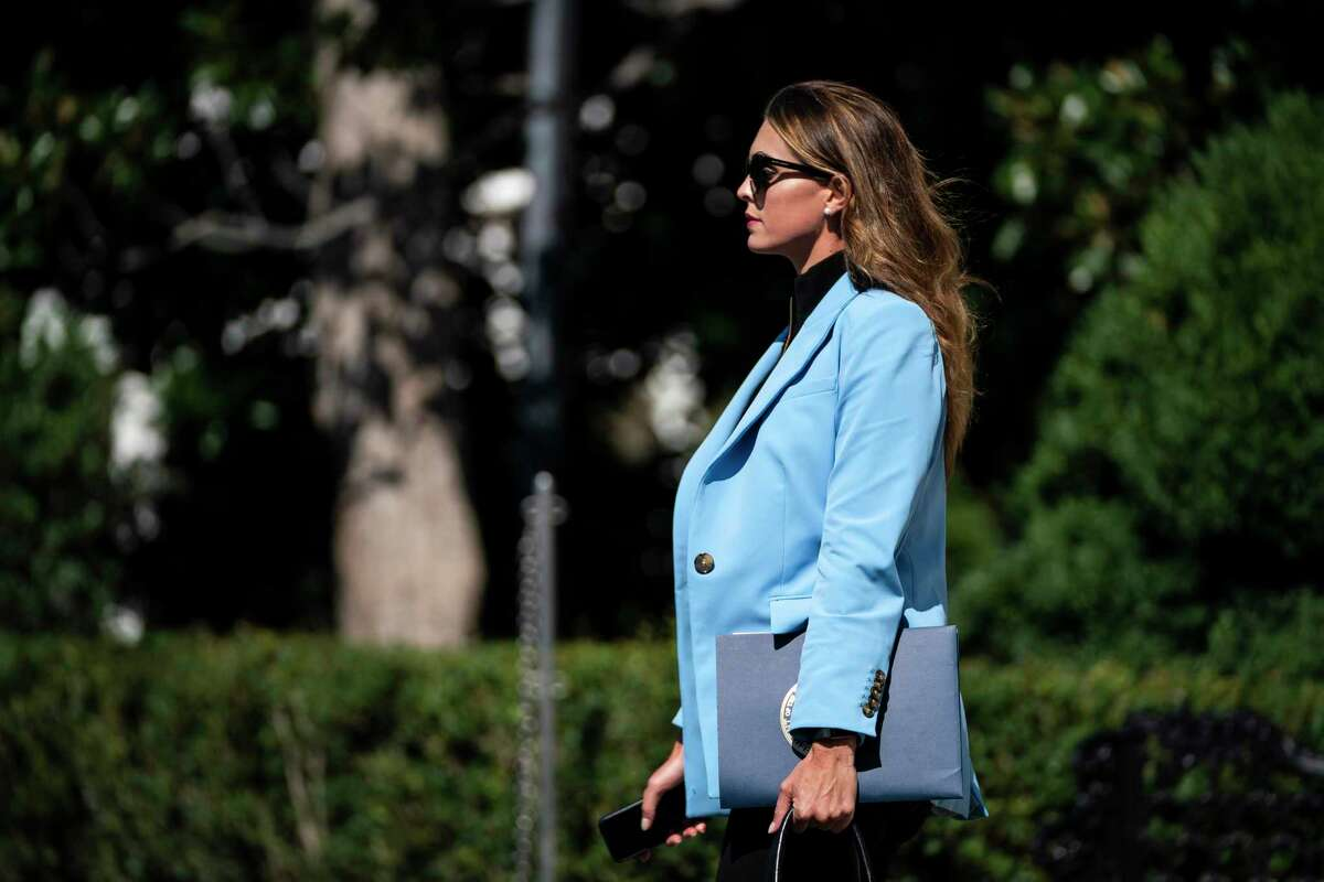 Hope Hicks, who serves as an advisor to President Trump, is pictured at the White House in August.