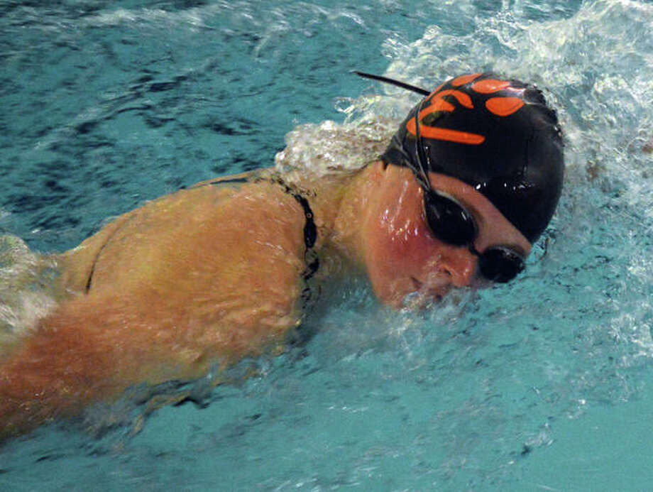 Edwardsville's Shelby Markus competes in the 50-yard freestyle during Thursday's dual meet against O'Fallon at Chuck Fruit Aquatic Center. Photo: Scott Marion/The Intelligencer