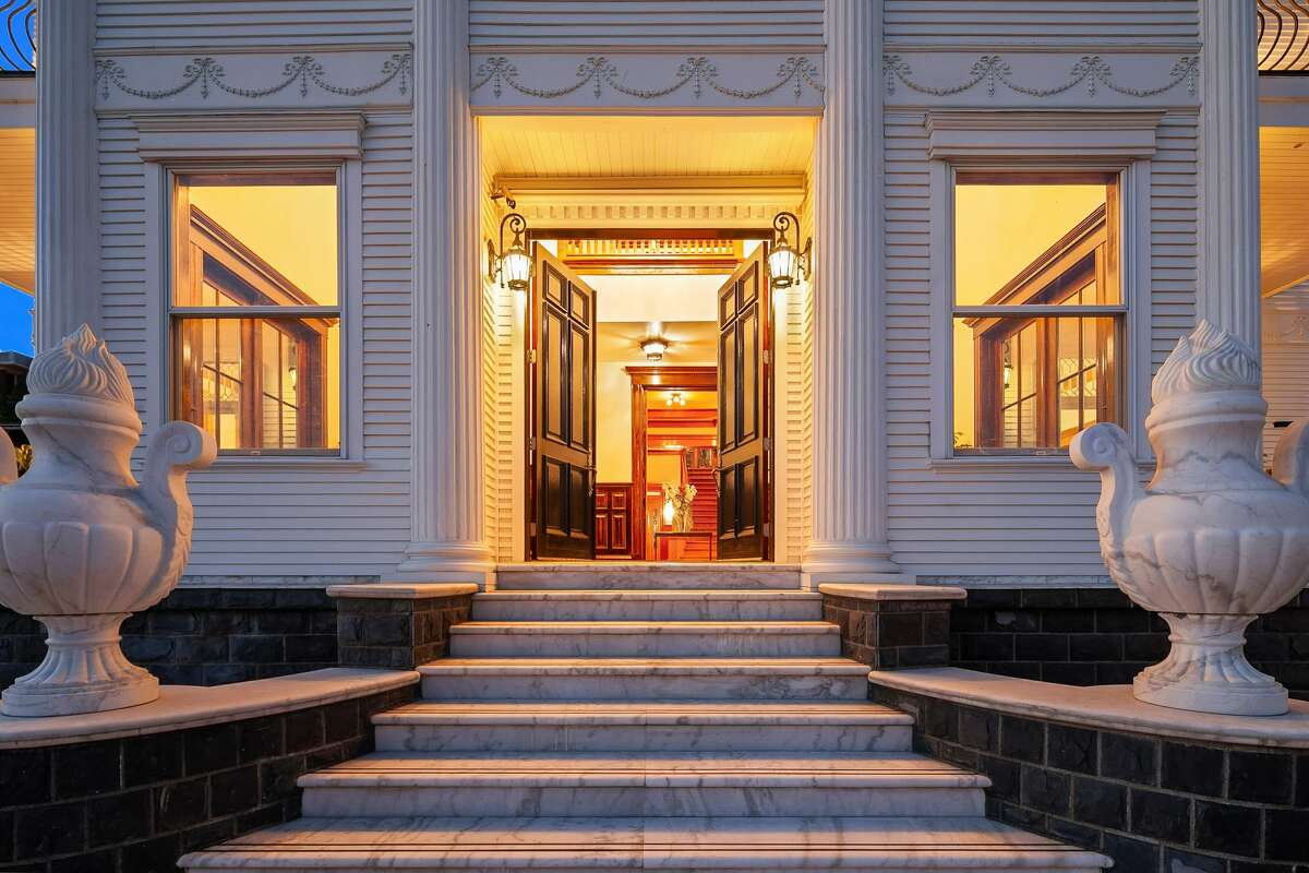 The opulent original architecture along with restoration adds drama to the front entrance.
