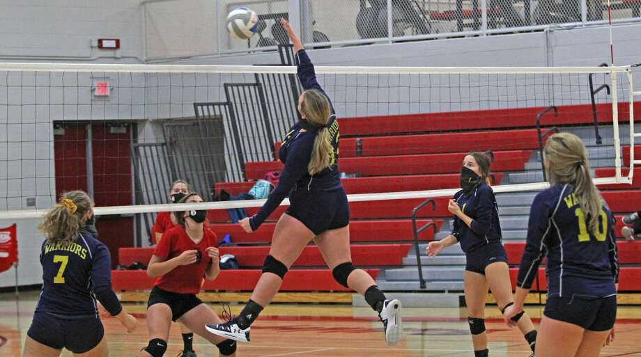 The North Huron volleyball team traveled to Owendale-Gagetown on Thursday where the Warriors swept the host Bulldogs. Photo: Mark Birdsall/Huron Daily Tribune