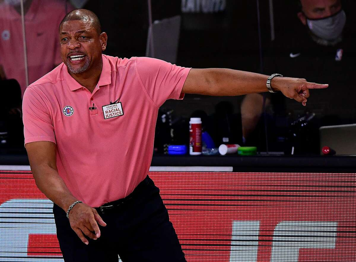 Doc Rivers of the Los Angeles Clippers reacts during the first quarter against the Denver Nuggets in Game Seven of the Western Conference Second Round during the 2020 NBA Playoffs at AdventHealth Arena at the ESPN Wide World Of Sports Complex on September 15, 2020 in Lake Buena Vista, Florida. (Douglas P. DeFelice/Getty Images/TNS)