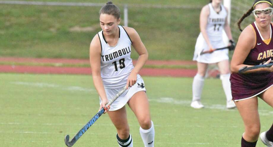 Senior tri-captain Lauren Buck scored one goal to lead the Eagles to their season-opening win. Photo: Trumbull Athletics / Contributed Photo / Trumbull Times