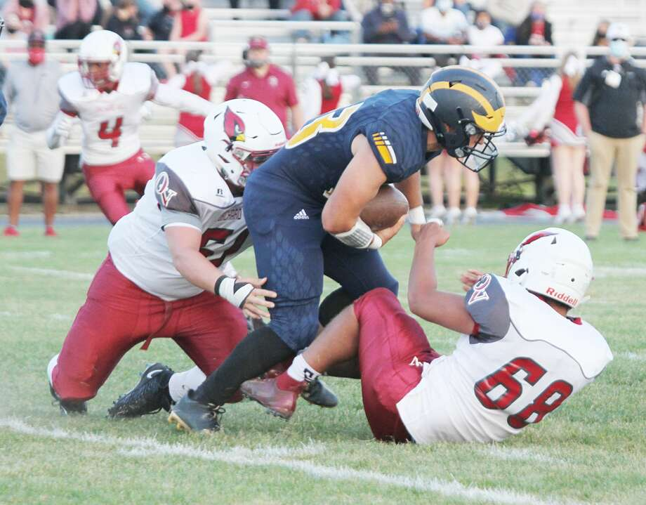 Manistee running back Landen Powers fights for yardage during the Chippewas' victory over Orchard View on Friday. Photo: Dylan Savela/News Advocate