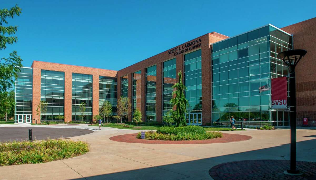 Pictured is SVSU's Scott L. Carmona College of Business building, which houses the regional office of the Michigan Small Business Development Center. (Photo provided/SVSU)
