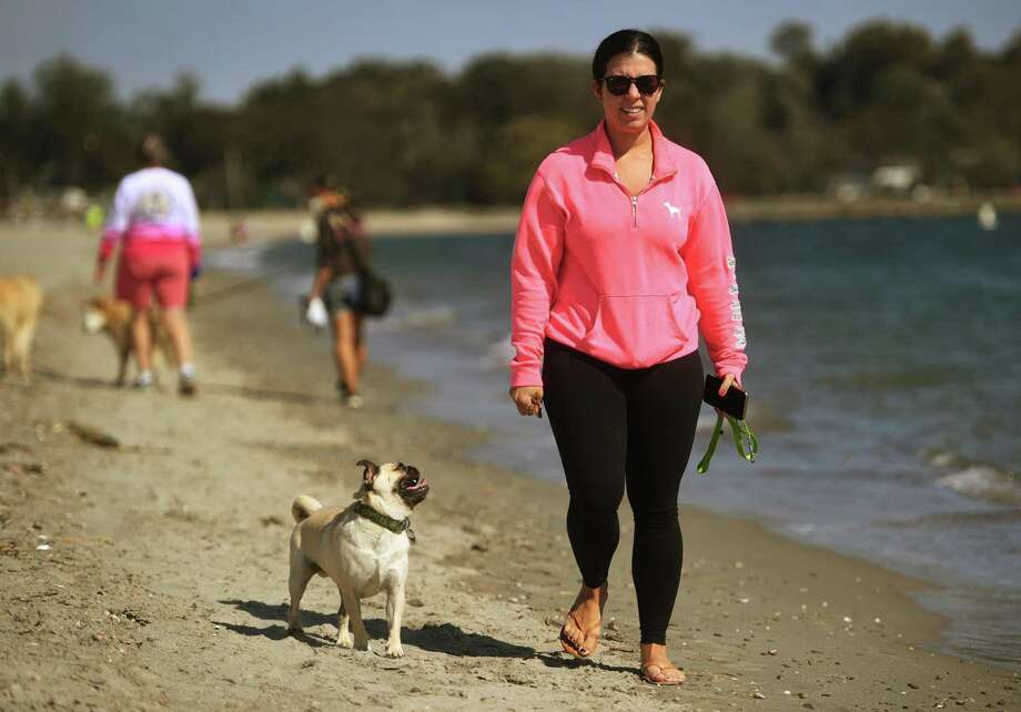 Christina DeLuca takes her pug Chubbs for a walk on Jennings Beach in Fairfield, Conn. on Thursday, October 1, 2020. Dogs and other animals are allowed on Fairfield beaches each year beginning October 1st. Photo: Brian A. Pounds / Hearst Connecticut Media / Connecticut Post