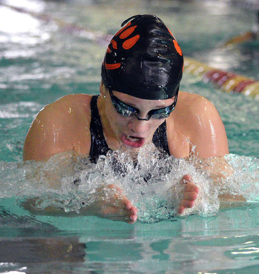 Phoebe Gremaud of Edwardsville was a double winner in Thursday's 76-49 win over O'Fallon. She won the 200-yard individual medley in a time of 2:15.36 and won the 100-yard backstroke in 1:00.59. Photo: Telegraph File Photo