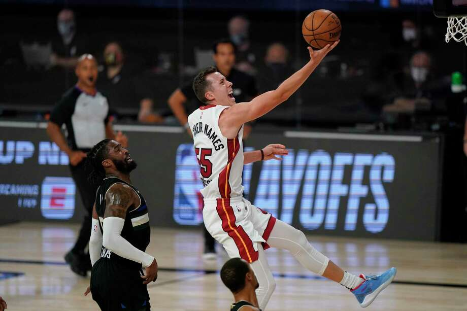 Several basketball players at TAMIU are inspired by how the Heat's Duncan Robinson worked his way up from a Division III player to an NBA starter. Photo: Mark J. Terrill / Associated Press / Copyright 2020 The Associated Press. All rights reserved.