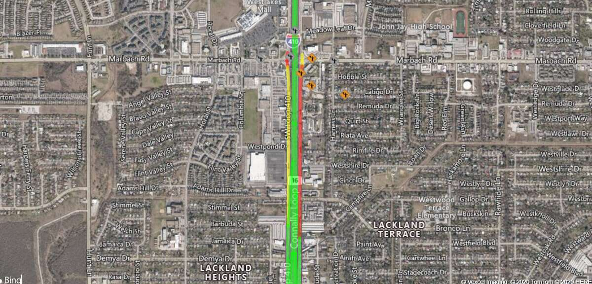 The Texas Department of Transportation will shut down a portion of Loop 410 and the Texas 151 frontage road on the West Side this weekend for continued construction of flyover ramps and the installation of steel beams.