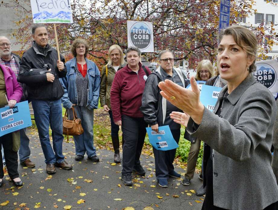 Tedra Cobb, right, the Democratic candidate in the 21st Congressional District against GOP incumbent Elise Stefanik, speaks to voters during a rally at Wiswall Park Friday Nov. 2, 2018 in Ballston Spa, NY. (John Carl D'Annibale/Times Union) Photo: John Carl D'Annibale/Albany Times Union