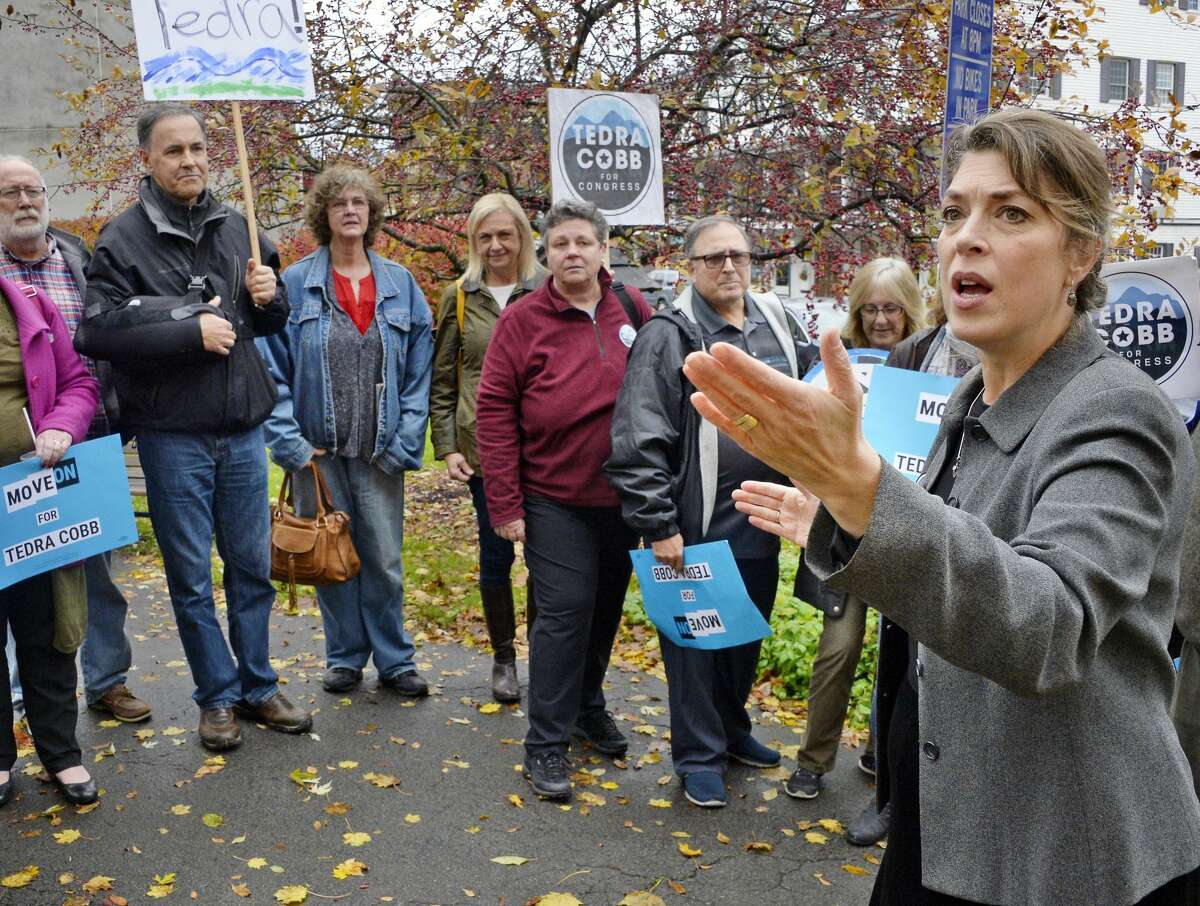 Tedra Cobb, right, the Democratic candidate in the 21st Congressional District against GOP incumbent Elise Stefanik, speaks to voters during a rally at Wiswall Park Friday Nov. 2, 2018 in Ballston Spa, NY. (John Carl D'Annibale/Times Union)