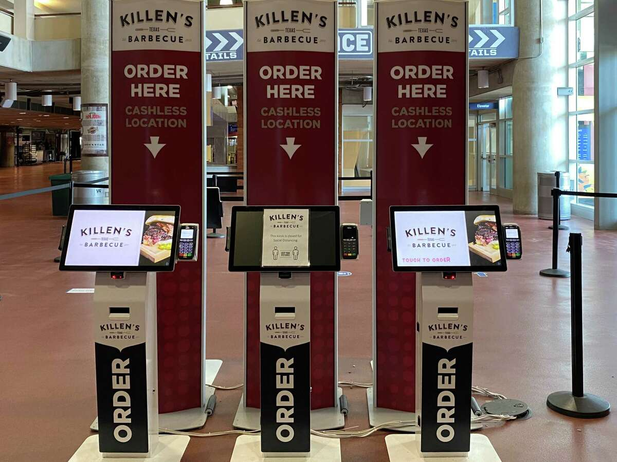 Self-order kiosks have been added to some concession stands, including Killen's Barbecue, inside NRG Stadium for Texans games in 2020.