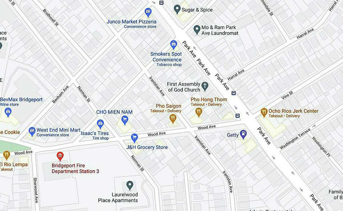 Officials are asking residents to avoid the area of Iranistan and Wood avenues after a construction crew hit a gas line while working on Friday, Oct. 1, 2020, in Bridgeport, Conn.