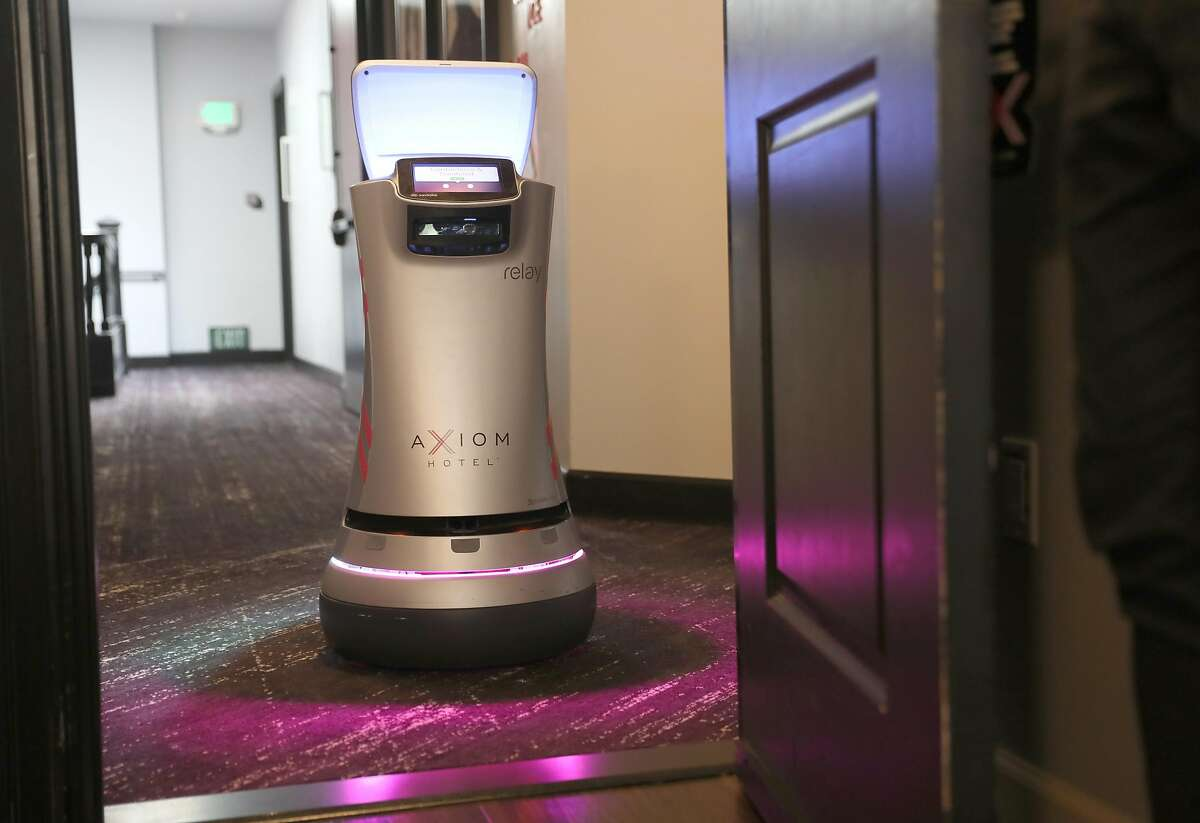 Axiom Hotelnear Union Square has been using a room service drone by Savioke seen on Thursday, Oct. 1, 2020, in San Francisco, Calif. More hotels are using these robots during the pandemic to aid the 'touchless' environment hotels.