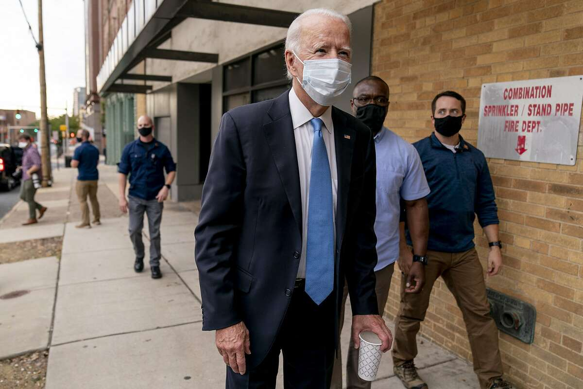 Former Vice President Joe Biden speaks to reporters in Wilmington, Del., hours before President Trump revealed he and the first lady had tested positive for the coronavirus.