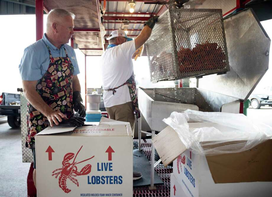 """Rick Carter, left, watches as Scott Knee unloads a cage of cooked lobster onto a table in preparation for LobsterFest at the Montgomery County Fair Grounds, Thursday, Oct. 1, 2020, in Conroe. The festival is traditional held at a dine-in experience but due to COVID-19 they shifted their plans to """"Dinner-To-Go."""" Photo: Gustavo Huerta, Houston Chronicle / Staff Photographer / 2020 © Houston Chronicle"""