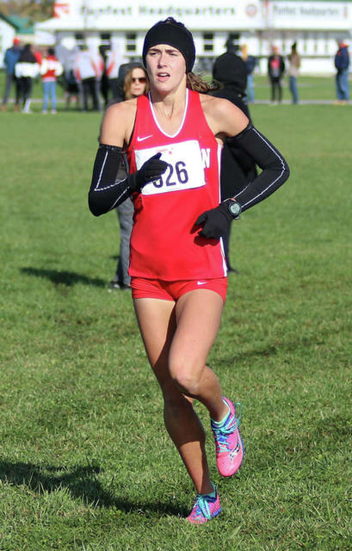 Staunton's Lydia Roller runs alone in first place in the final mile of last season's Class 1A sectional cross country meet at Effingham. Roller, who went on to finish second at the state meet, has committed to run college cross country and track at Mizzou.