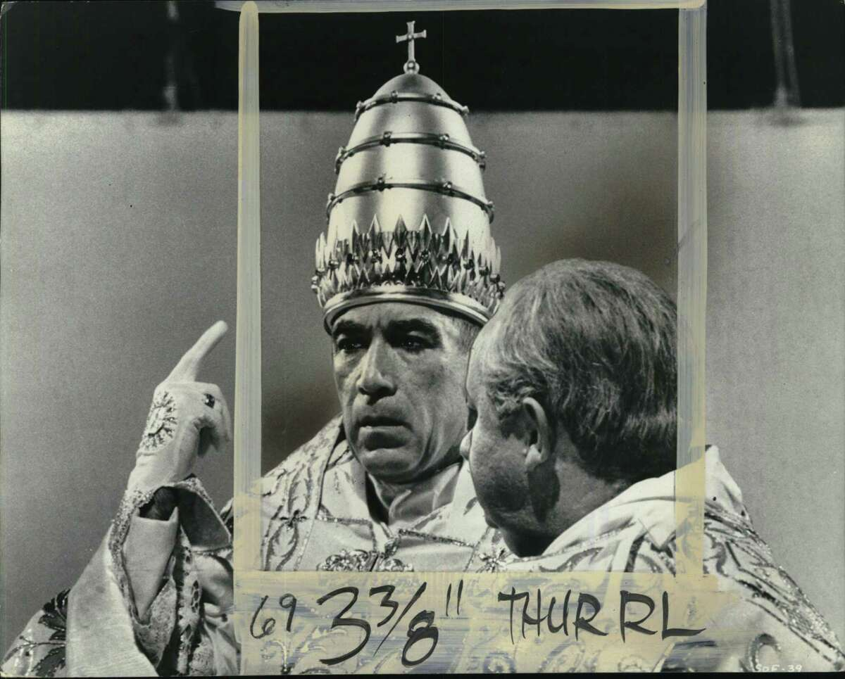 """Anthony Quinn stars in """"The Shows of the Fisherman,"""" a 1968 drama about the election of a new pope in a time of global dischord."""