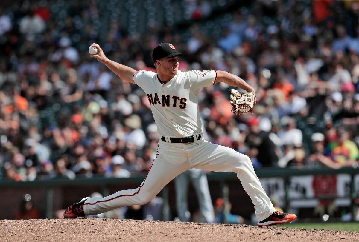 Trevor Gott (58) pitches for the Giants as the San Francisco Giants played the New York Mets at Oracle Park in San Francisco, Calif., on Sunday, July 21, 2019. The Giants defeated the Mets on a walk-off home run by Mike Yastrzemski (5) in the 12th inning.