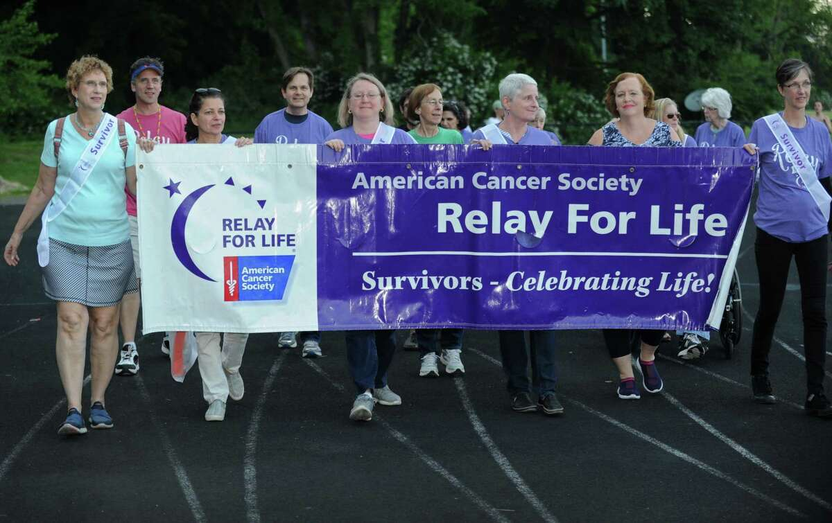 The Wilton Relay for Life Opening Ceremony Friday, June 8, 2018, at Wilton High School in Wilton, Conn. Relay For Life is the signature fundraiser for the American Cancer Society. Relay is staffed and coordinated by volunteers in thousands of communities and 27 countries.