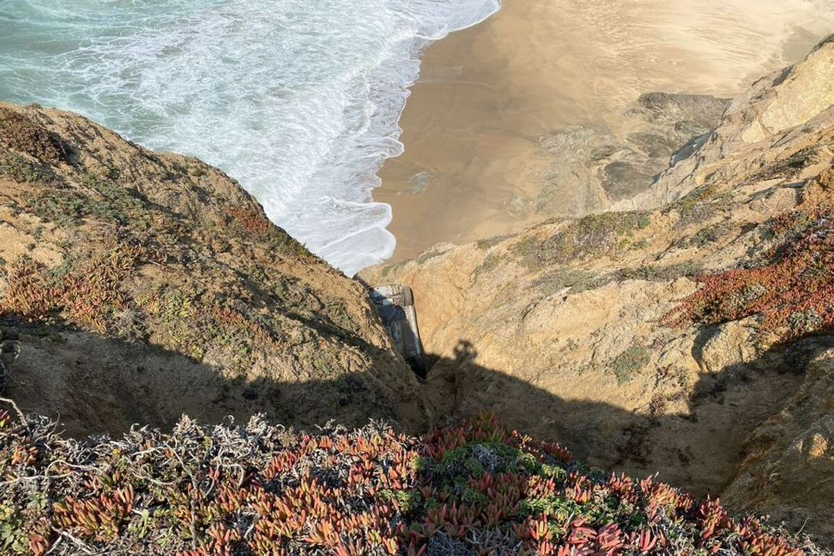 The California Highway Patrol is investigating a car found over a cliff at Montara State Beach in San Mateo County on Oct. 2, 2020.