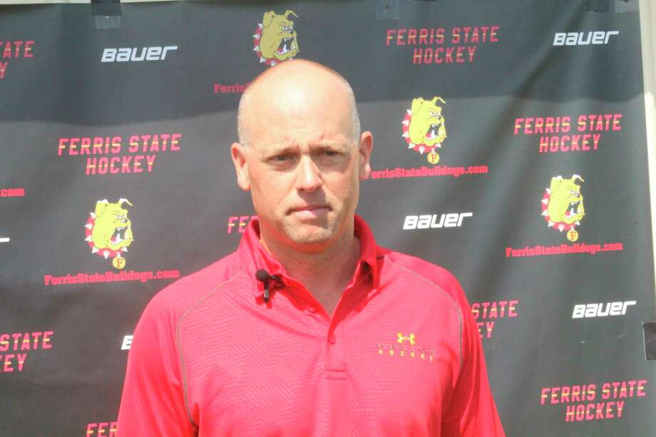 Detroit Red Wings coach Jeff Blashill talks to reporters last summer at Katke Golf Course during Ferris' golf outing. (PIoneer file photo)