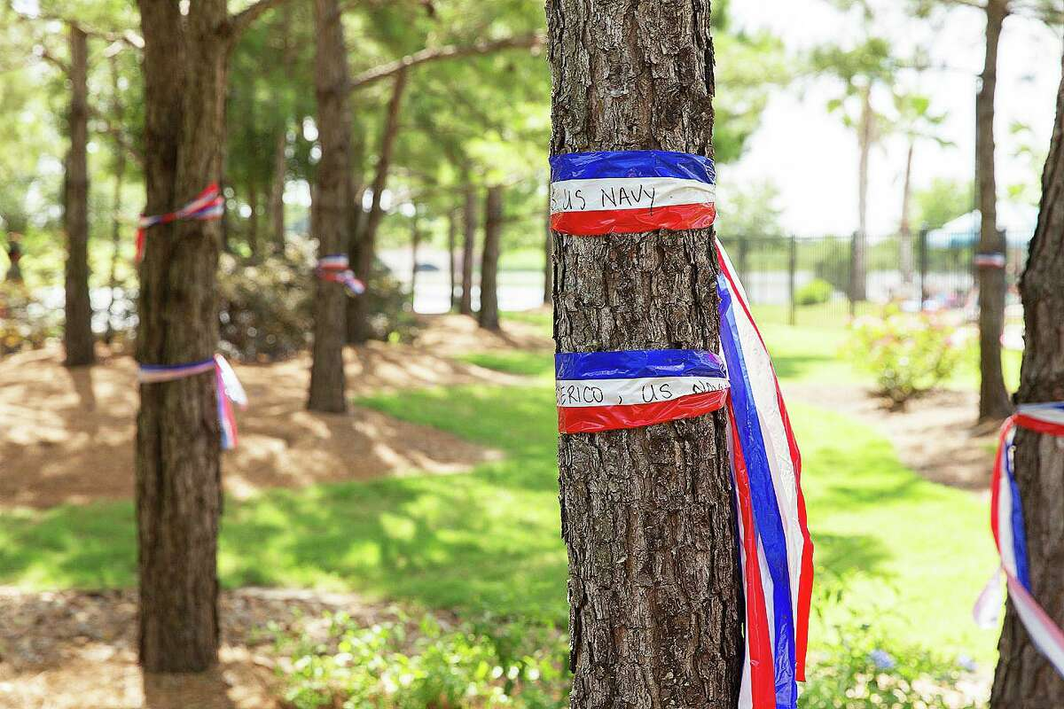 Red, white, and blue ribbons with the names of veterans inscribed on them are tied around the trees in the Pioneer Circle Park during the annual Veteran's Day celebration.