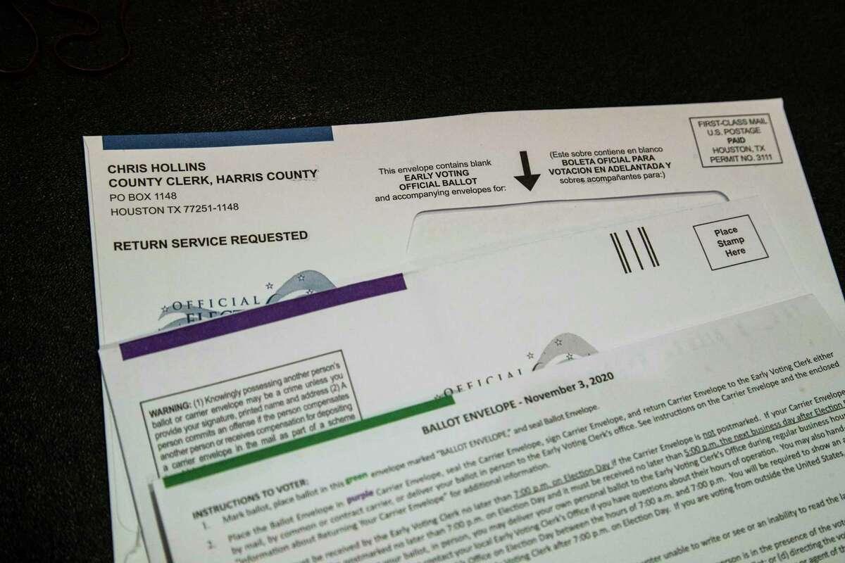 Harris County early voting ballot envelope, Friday, Sept. 25, 2020, in Houston.