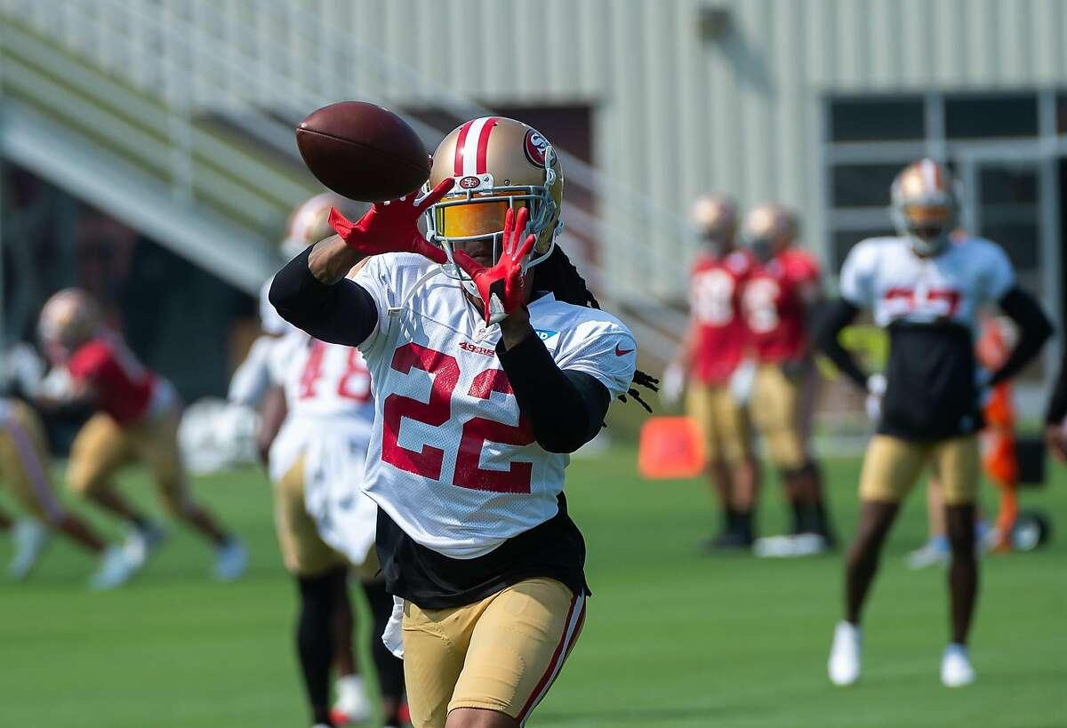 San Francisco 49ers cornerback Jason Verrett (22) catches a pass during training camp at Levi's Stadium on Tuesday, Aug. 25, 2020 in Santa Clara.