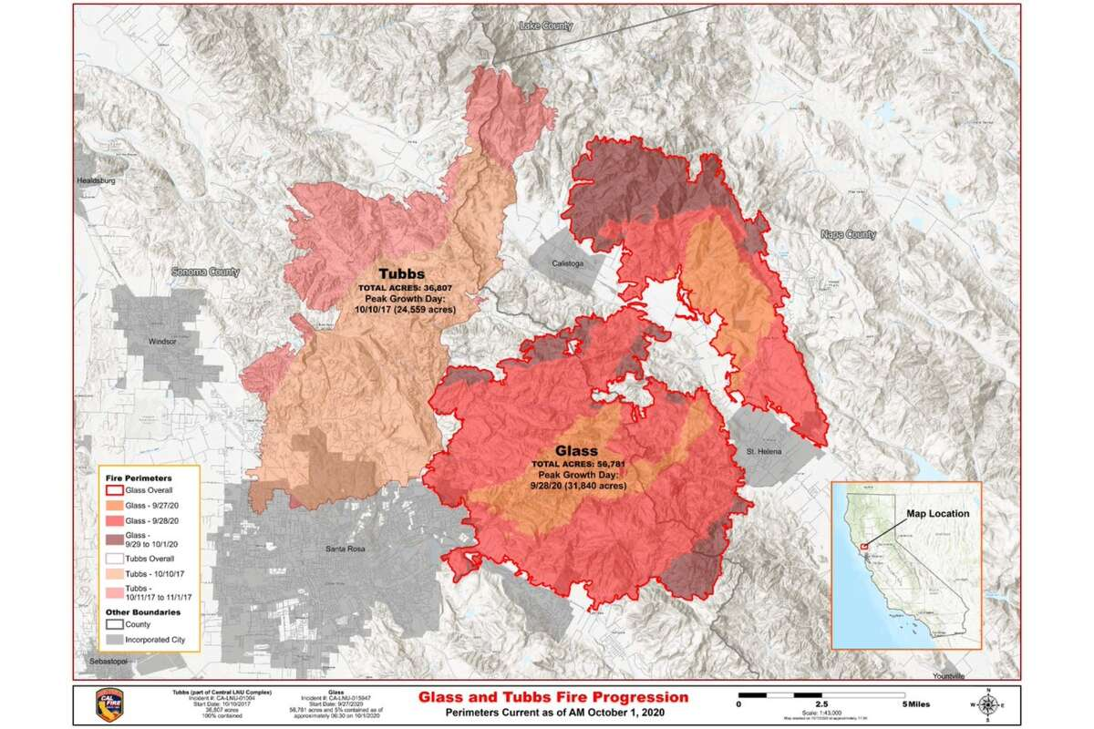 Cal Fire issued a map on Oct. 2, 2020, comparing the 2020 Glass Fire with the 2017 Tubbs Fire.