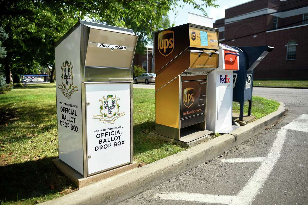 A Connecticut Official Ballot Drop Box for absentee/mail-in ballots for the upcoming election.
