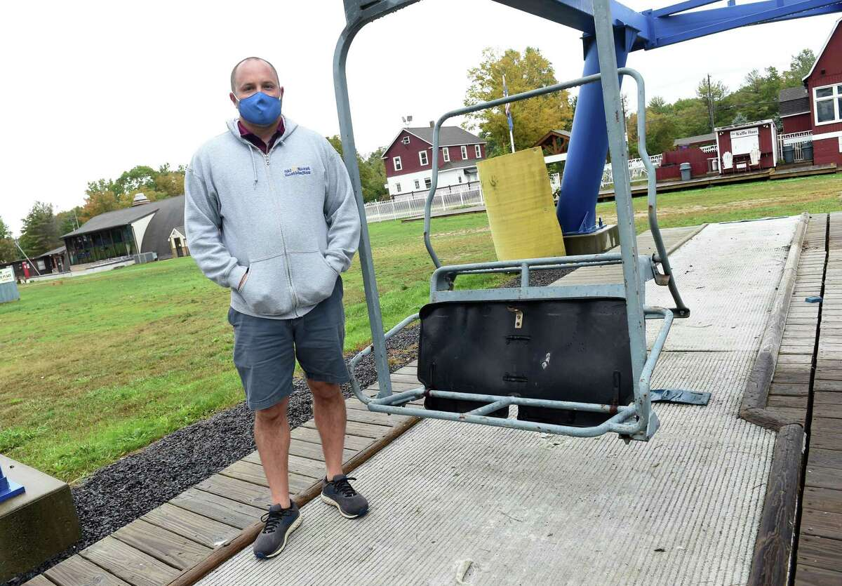 Mount Southington general manager Jay Dougherty is photographed by one of the chairlifts at the ski area in Southington on Oct. 2, 2020. One of the preparations being made for the upcoming ski season is to separate the lines approaching the chairlifts by six feet.