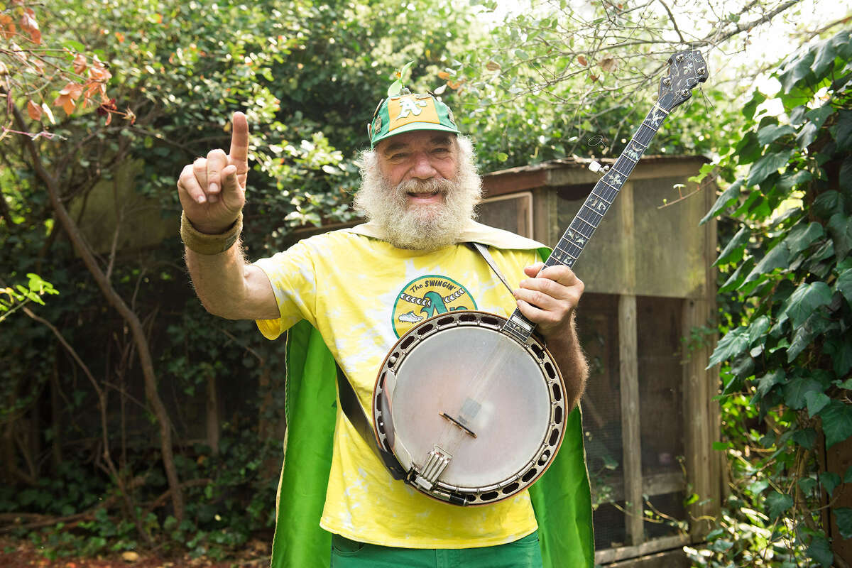Stacy Samuels, known to 49ers and A's fans as Banjo Man, at his home in Fairfax, Calif.