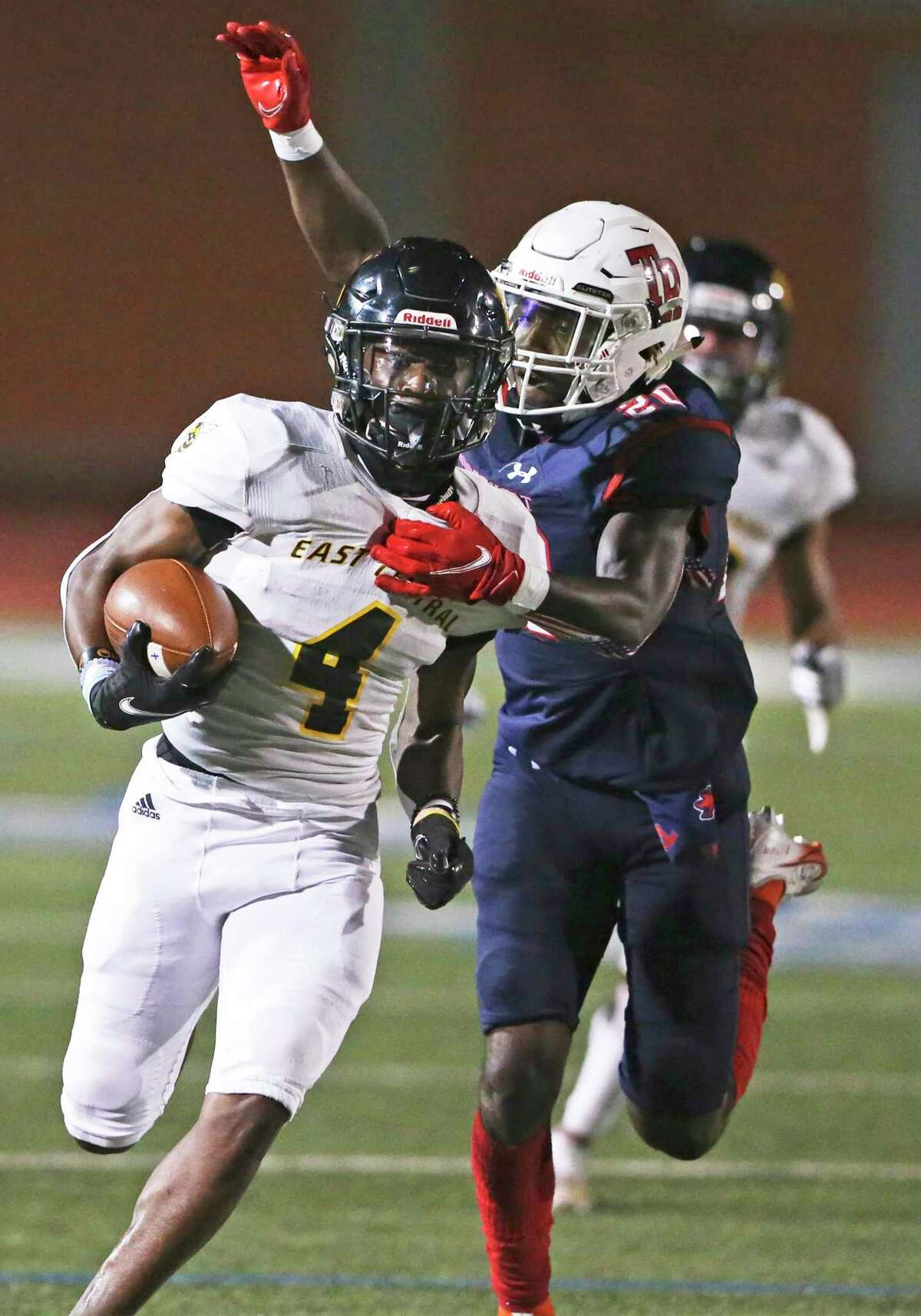 The Hornet's return man Xion LaGrant is stalked from the rear by Jalen Dears Roosevelt hosts East Central at Heroes Stadium on Oct. 2, 2020.