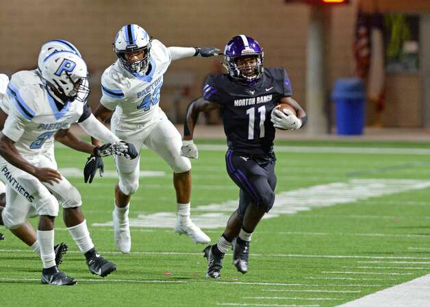 Santana Scott (11) of Morton Ranch is run out of bounds during the second half of a non-conference football game between the Paetow Panthers and the Morton Ranch Mavericks on Friday, October 2, 2020 at Legacy Stadium, Katy, TX. Photo: Craig Moseley/contributor / ©2020 Craig Moseley