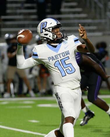 CJ Dumas Jr (15) of Paetow prepares to release a pass during the second half of a non-conference football game between the Paetow Panthers and the Morton Ranch Mavericks on Friday, October 2, 2020 at Legacy Stadium, Katy, TX. Photo: Craig Moseley/contributor / ©2020 Craig Moseley