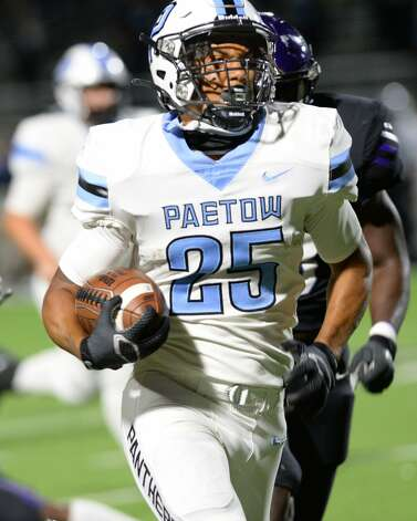 Jacob Brown (25) of Paetow carries the ball for a touchdown during the second half of a non-conference football game between the Paetow Panthers and the Morton Ranch Mavericks on Friday, October 2, 2020 at Legacy Stadium, Katy, TX. Photo: Craig Moseley/contributor / ©2020 Craig Moseley