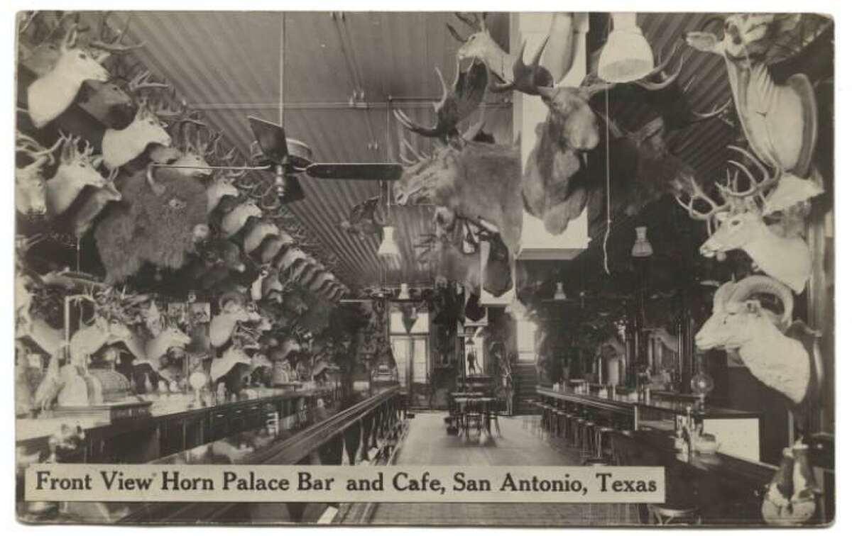 Looking much like the Buckhorn Saloon in today's downtown San Antonio, the once-thriving Horn Palace also sported a hall of antlers and horns as seen in this 1915 photo.
