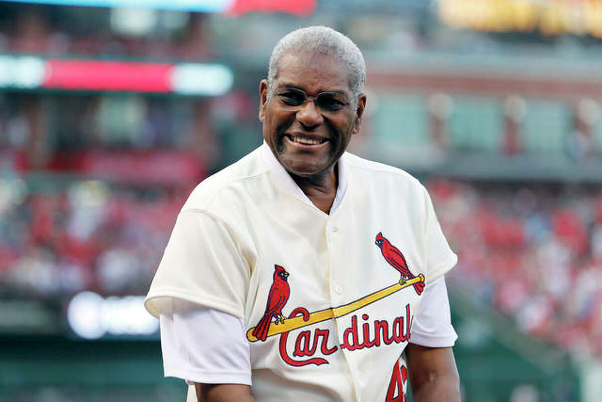 In this May 2017 photo, Bob Gibson, a member of the Cardinals' 1967 World Series championship team, takes part in a ceremony honoring the 50th anniversary of the victory. Gibson died Friday at age 84.
