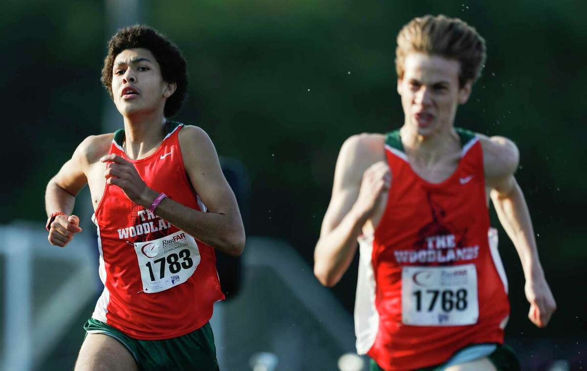 Pablo Lesarri (1783) of The Woodlands finished ninth overall and helped the Highlanders to a first place team finish with 44 points during the Nike South cross country meet at Bear Branch Sports Complex, Saturday, Oct. 3, 2020, in The Woodlands. Teammate Kyle Easton (1768) finished eighth.