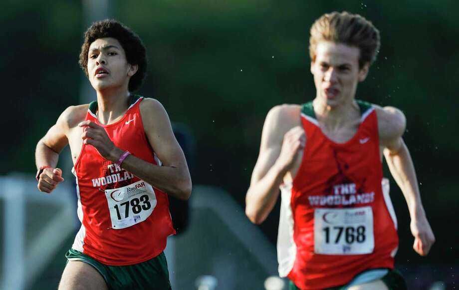 Pablo Lesarri (1783) of The Woodlands finished ninth overall and helped the Highlanders to a first place team finish with 44 points during the Nike South cross country meet at Bear Branch Sports Complex, Saturday, Oct. 3, 2020, in The Woodlands. Teammate Kyle Easton (1768) finished eighth. Photo: Jason Fochtman, Houston Chronicle / Staff Photographer / 2020 © Houston Chronicle