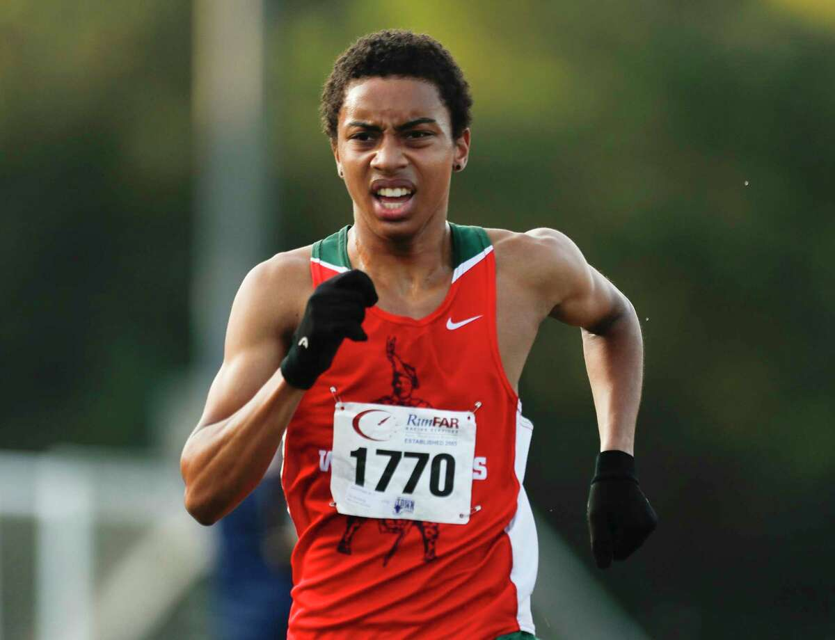 Joshua English of The Woodlands finished 11th overall during the Nike South cross country meet at Bear Branch Sports Complex, Saturday, Oct. 3, 2020, in The Woodlands.