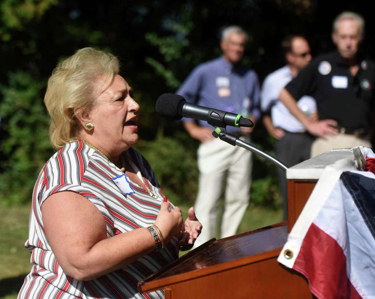 Town Clerk Carmella Budkins speaks at the annual Republican clambake at Greenwich Point Park in Old Greenwich, Conn. Sunday, Sept. 24, 2017.