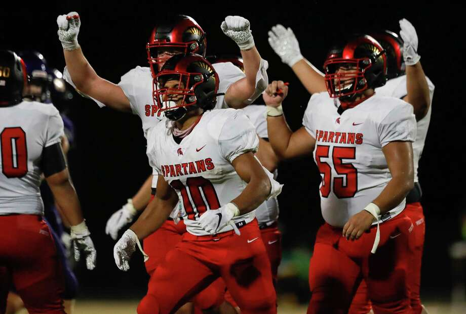 In this file photo, Porter players react after their 22-21 win over Montgomery during a high school football game at MISD Stadium, Friday, Sept. 25, 2020, in Montgomery. Photo: Jason Fochtman, Houston Chronicle / Staff Photographer / 2020 © Houston Chronicle