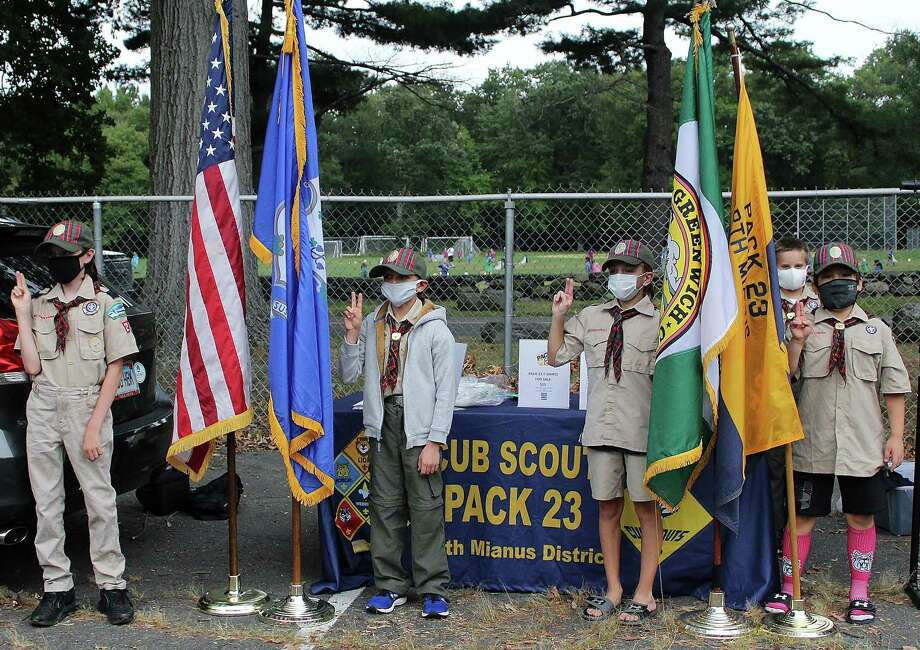 Cub Scout Pack 23 recently tied its monthly meeting to an outdoor scavenger hunt, allowing its younger members to get outside and learn more about the town in the process. - Photo: Photo By Cynthia DePreta /