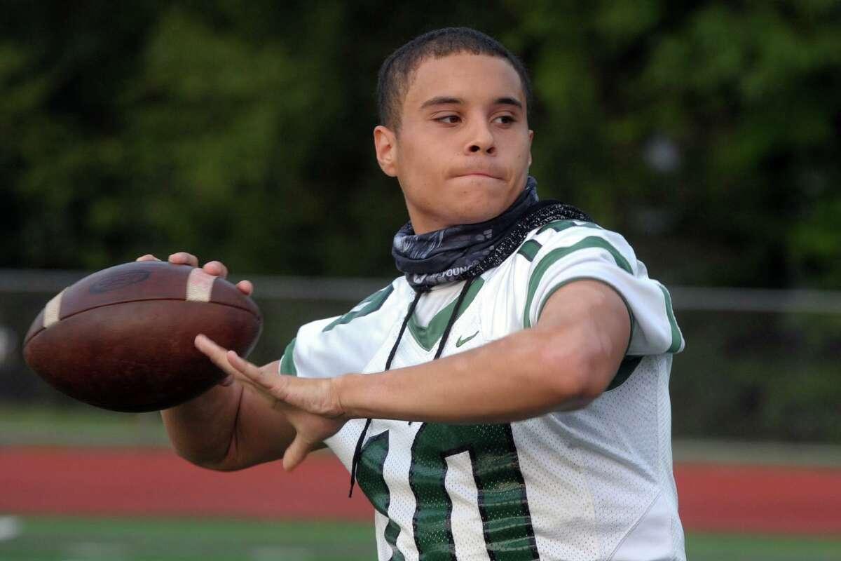 Norwalk High quarterback Tommy Brown during football practice in Norwalk, Conn. Sept. 25, 2020.